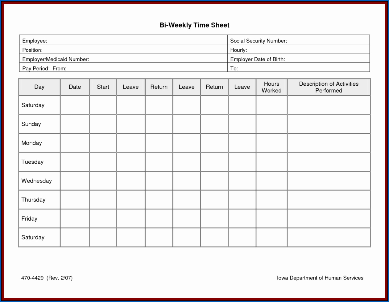 Example of Timesheet Template