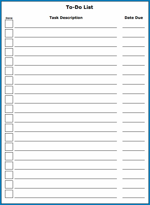 Example of To Do List Template