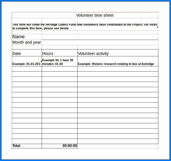 Example of Volunteer Timesheet Template