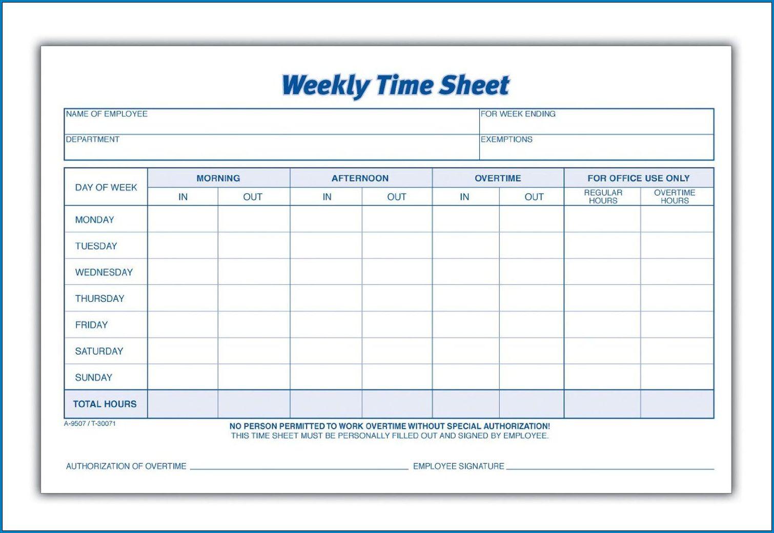 Free Printable Weekly Employee Timesheet Template