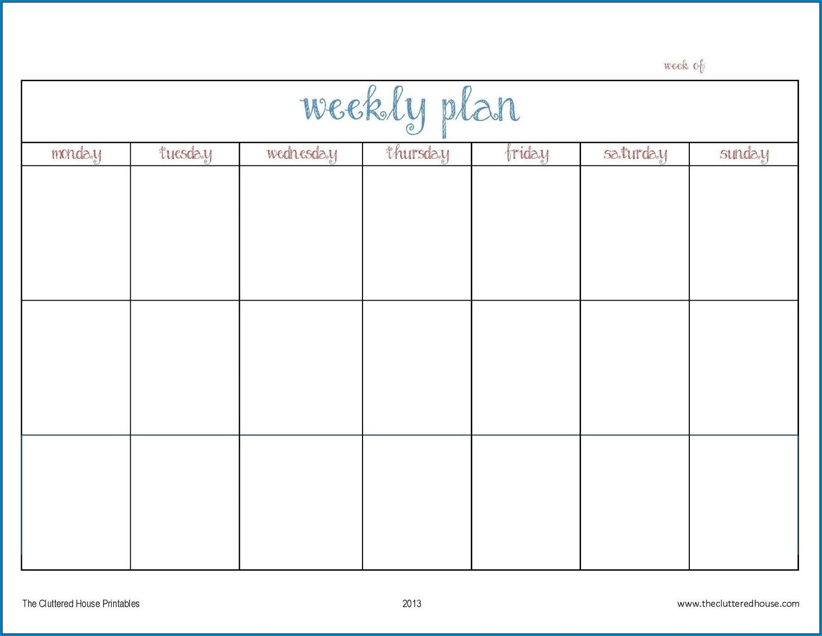 Example of Weekly Planner Template