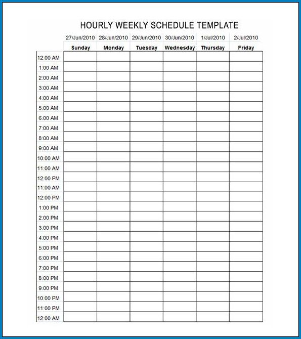 Example of Weekly Schedule Template With Hours