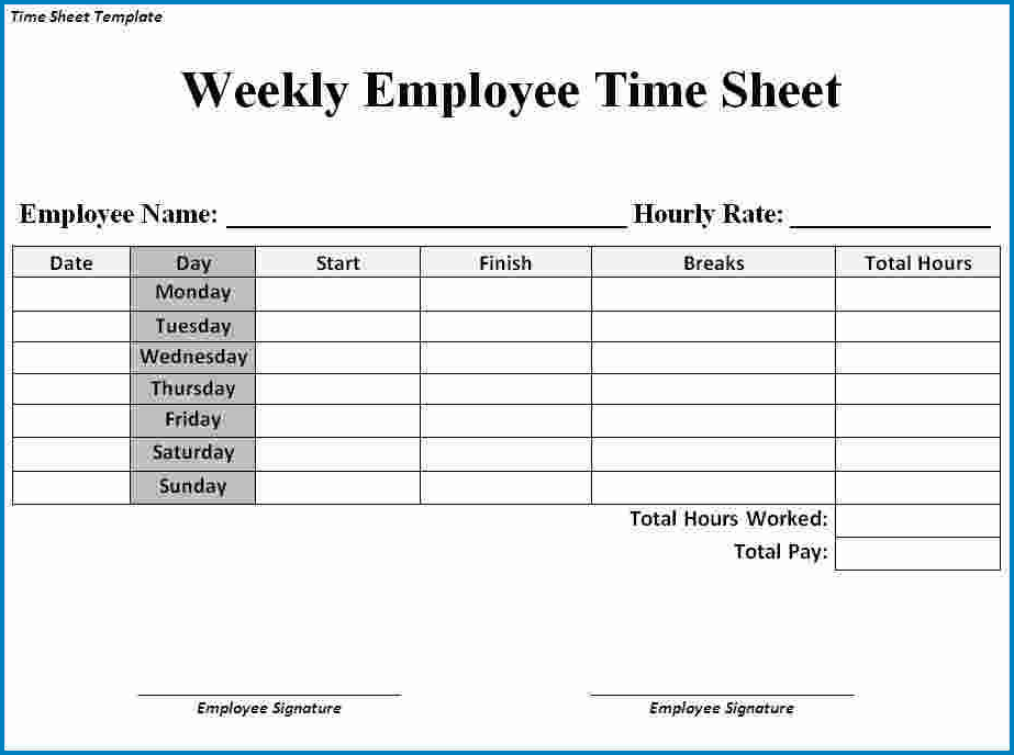 Example of Weekly Timesheet Template