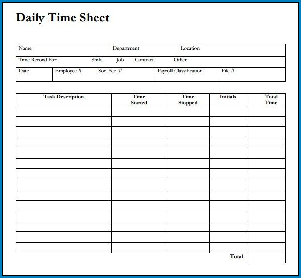Example of Work Timesheet Template