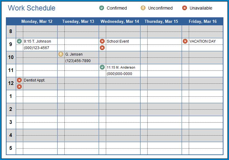 Excel Employee Schedule Template Example