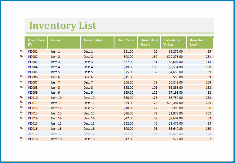 Excel Inventory Template Example