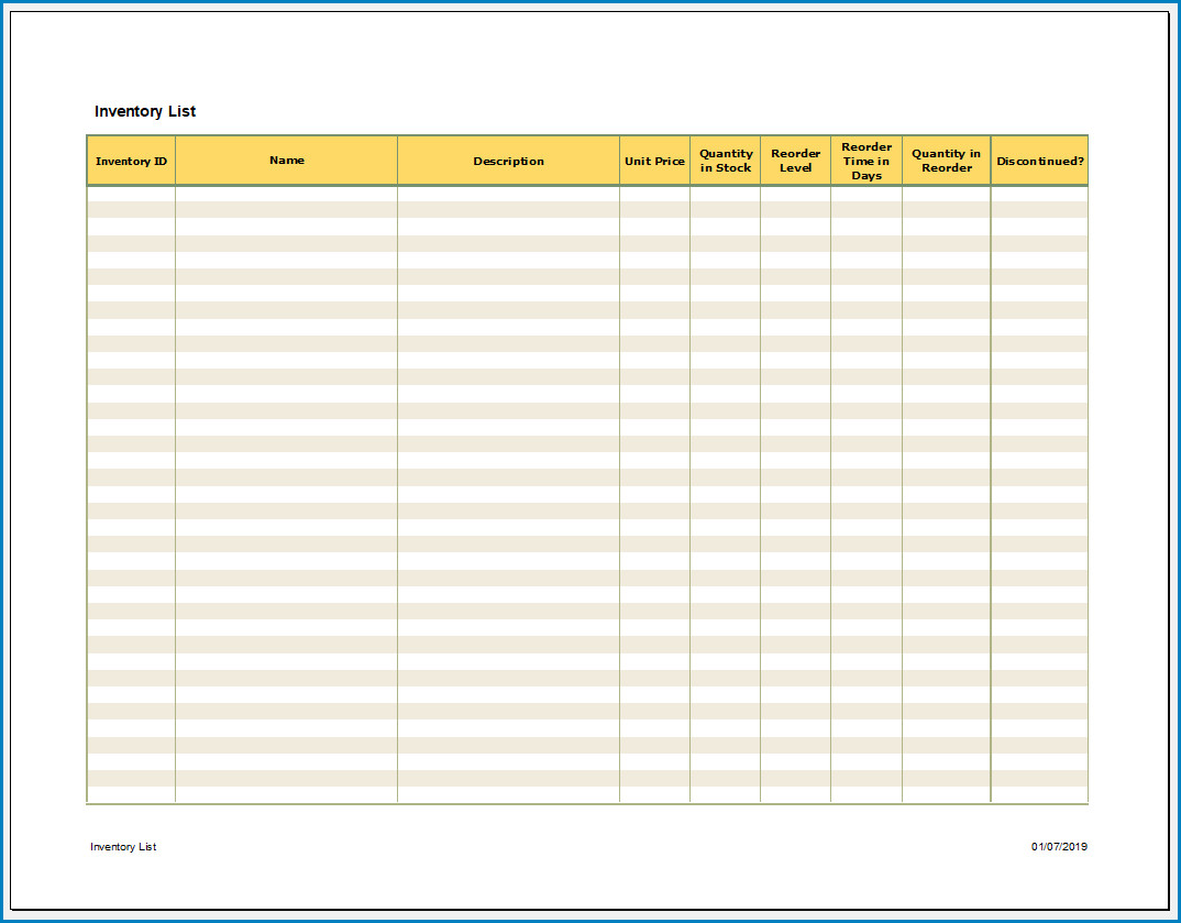 Free Printable Excel Inventory Template Templateral
