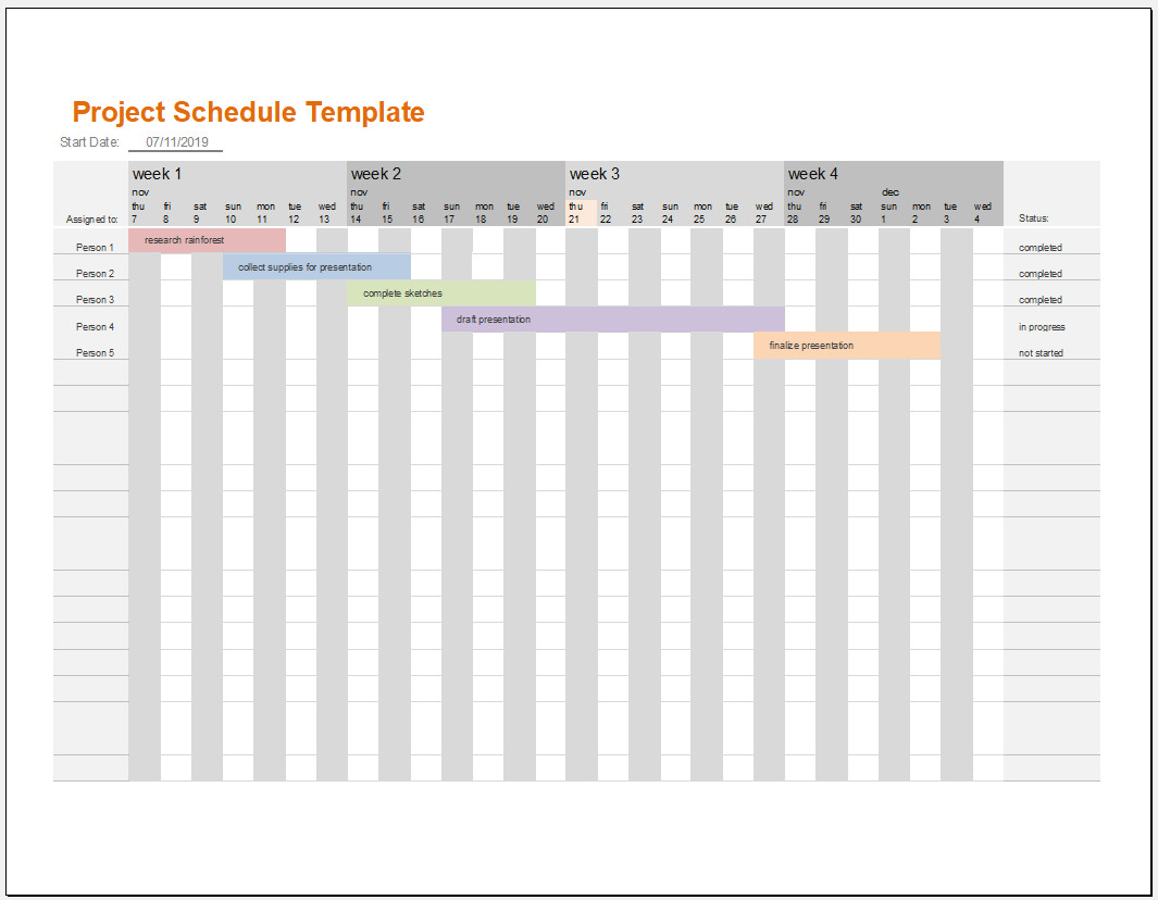 Free Printable Excel Schedule Template