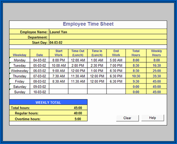 Excel Timesheet Formula With Lunch Break Sample