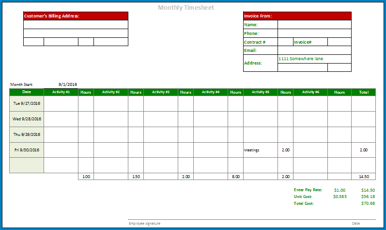 Excel Timesheet Template Monthly Example