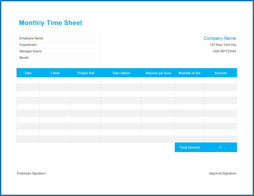 Free Printable Excel Timesheet Template Monthly