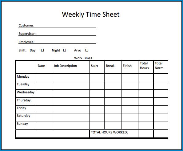 Excel Timesheet Template Weekly Sample