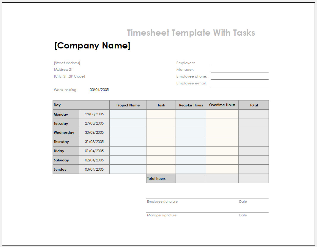 Free 4 Samples Of Excel Timesheet Template With Tasks Templateral