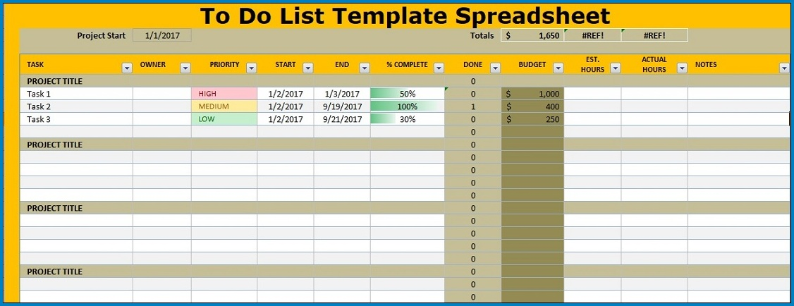 Excel To Do List Template Example