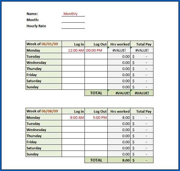Excel Weekly Timesheet Template With Formulas Example