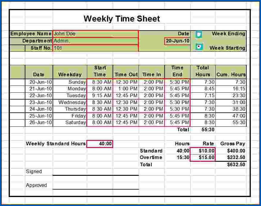 Excel Weekly Timesheet Template With Formulas Sample