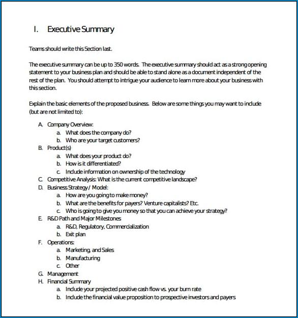 Executive Summary Template Sample