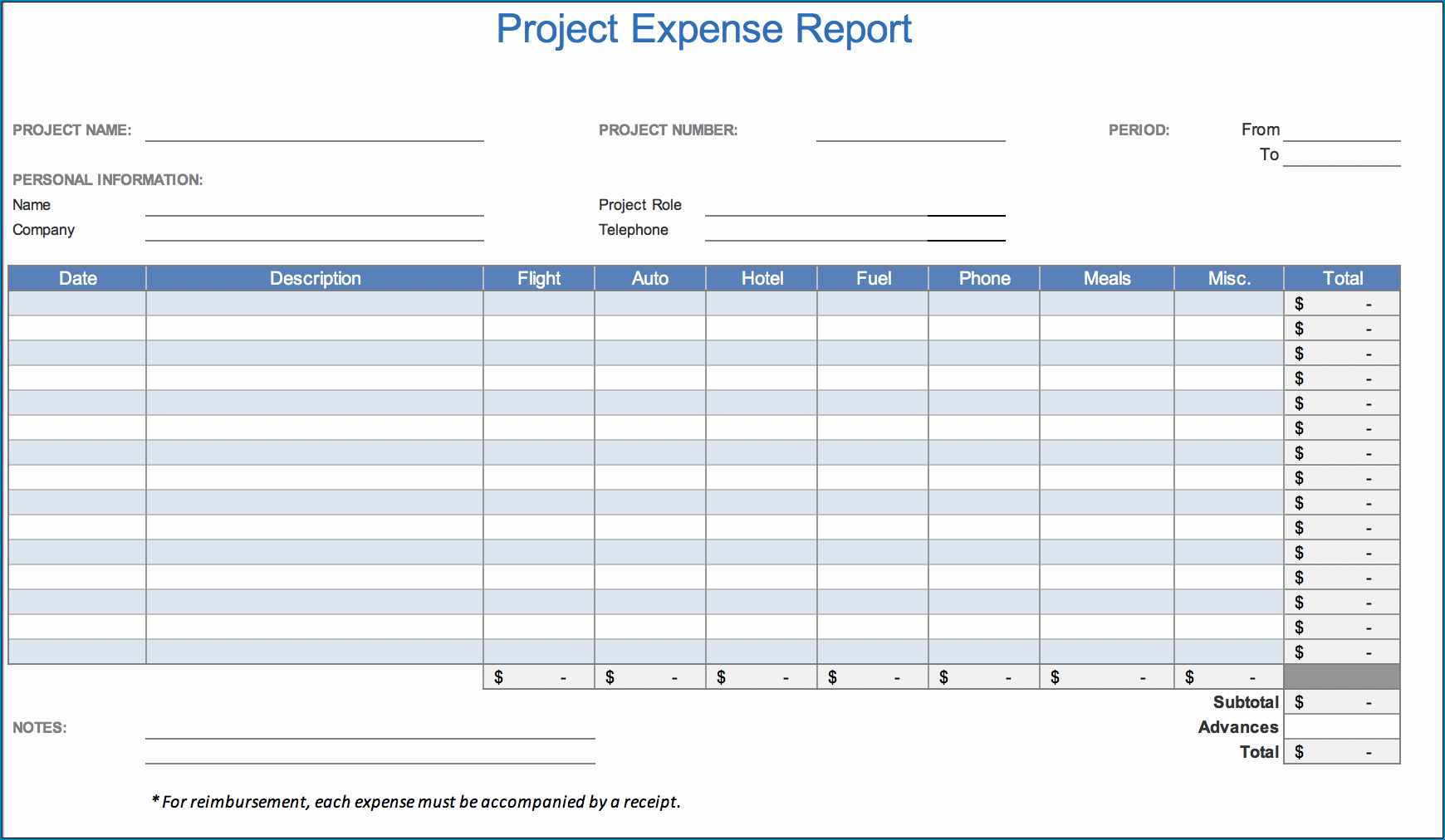 Expense Report Template Example