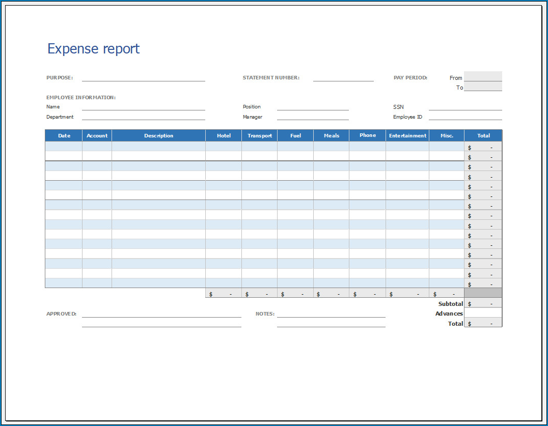 √ Free Printable Expense Report Template   Templateral