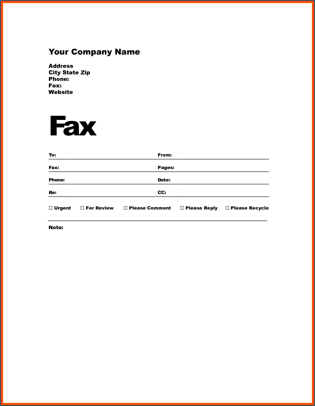 Fax Cover Letter Template Example