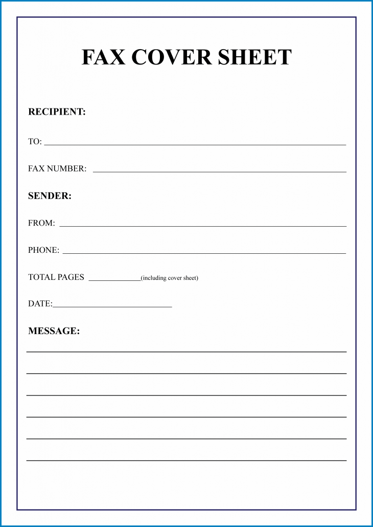 Fax Cover Sheet Template Example