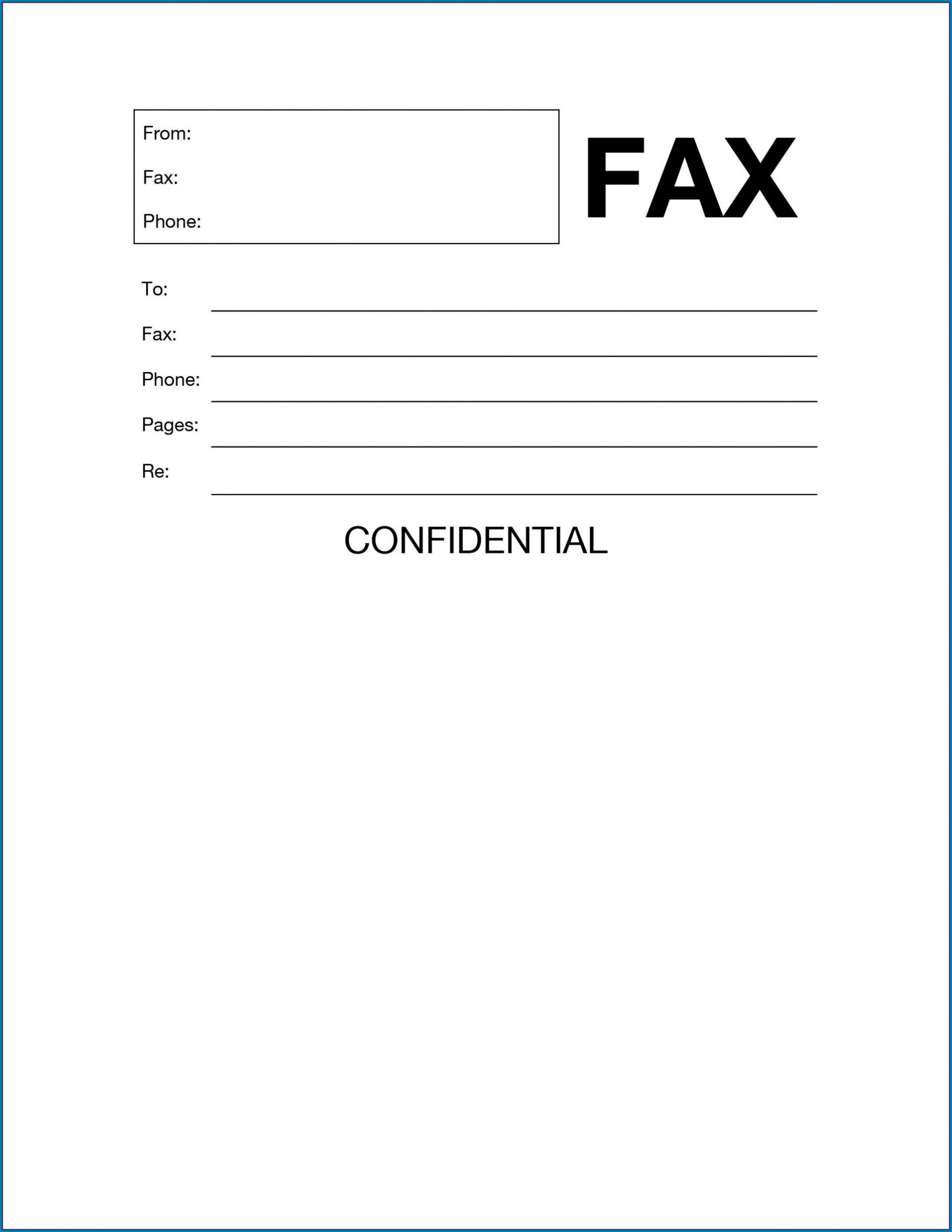 Fax Cover Sheet Template Word Example