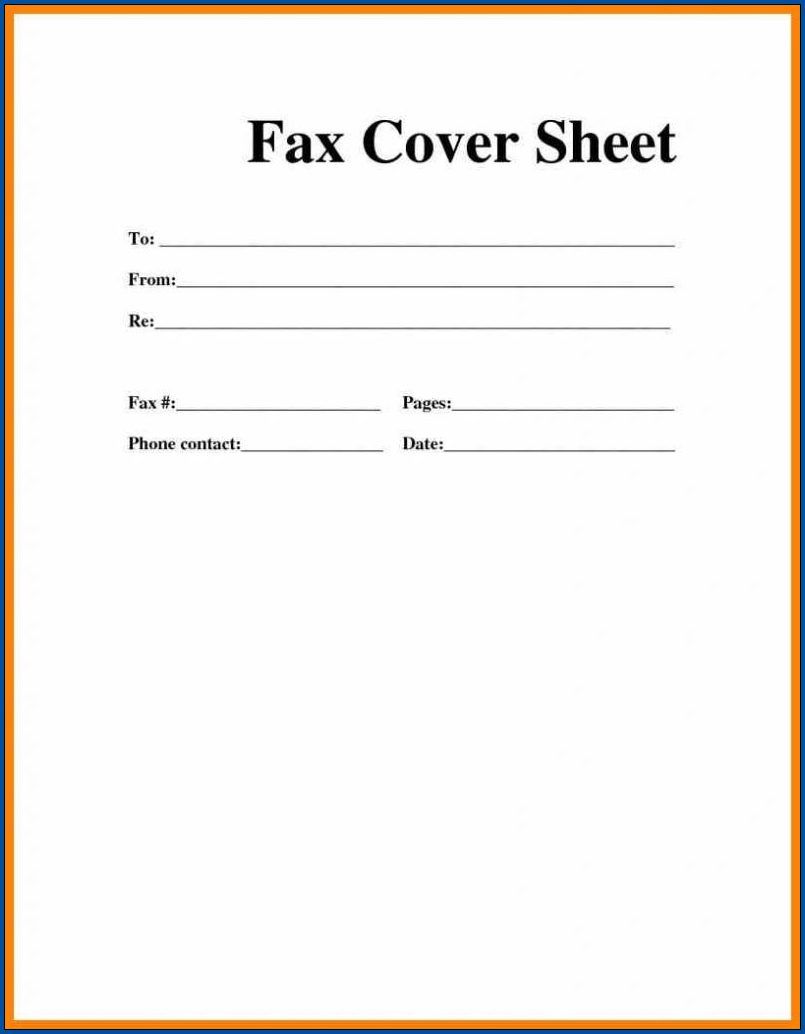 Fax Cover Sheet Word Template Example