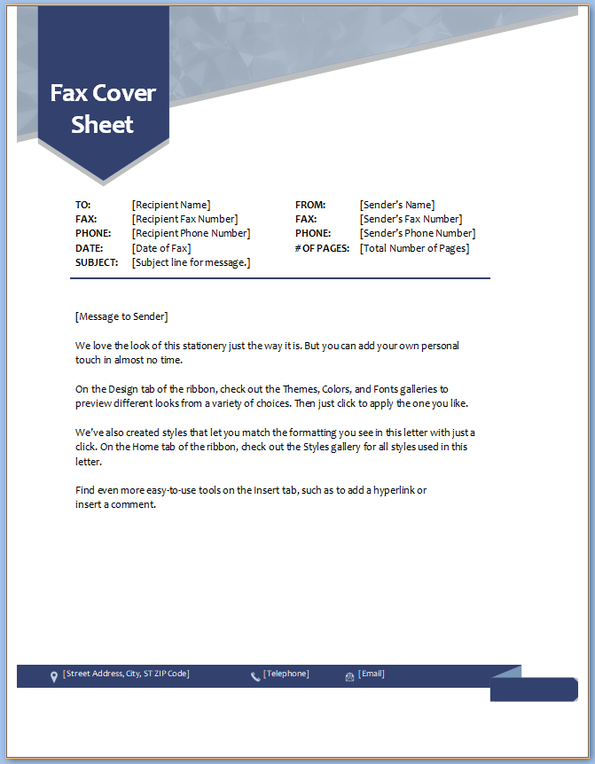 Free Printable Fax Cover Sheet Word Template