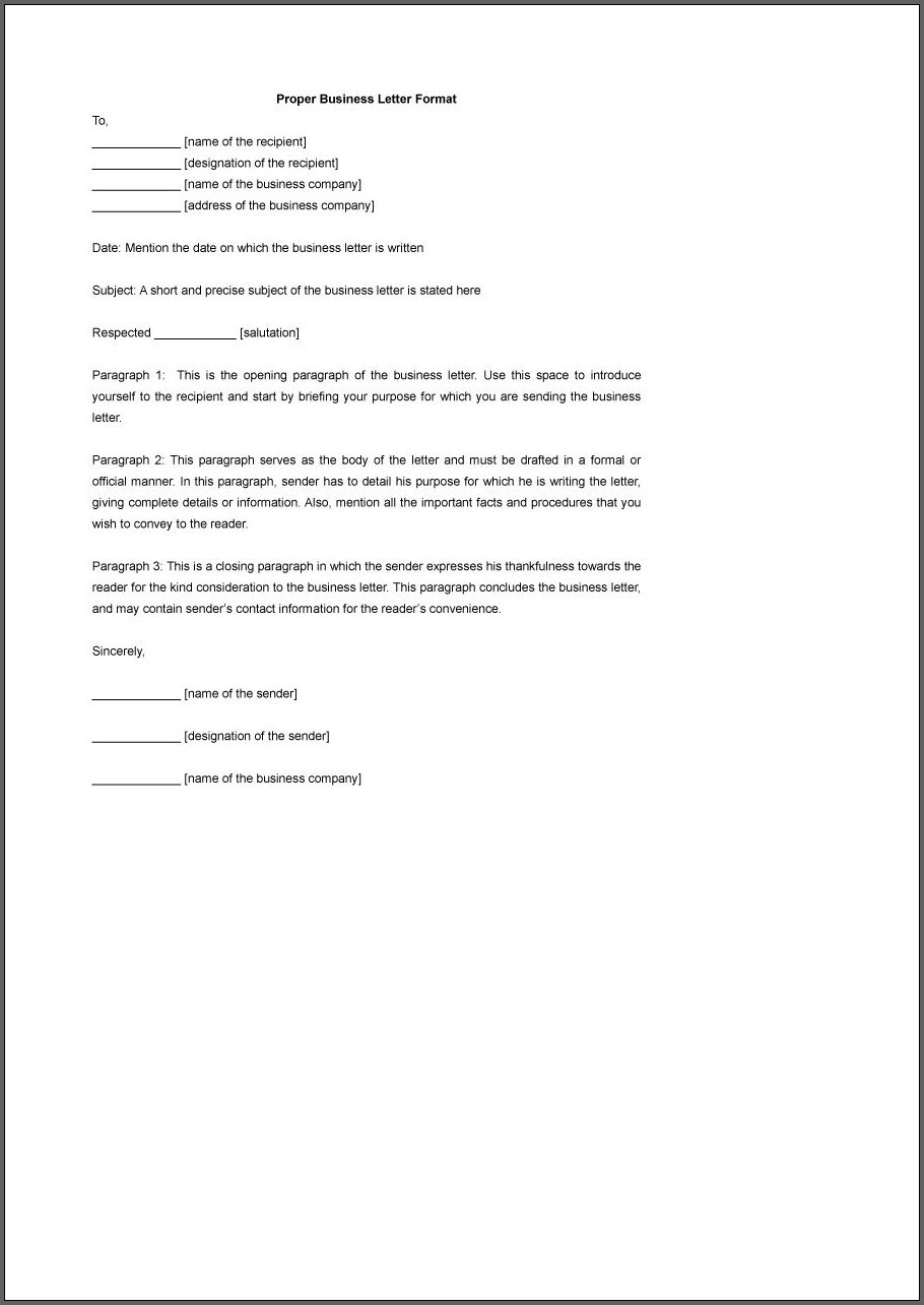 Formal Business Letter Template Sample