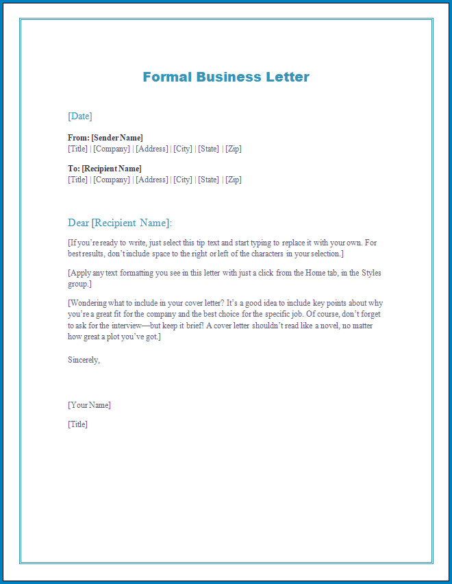 Free Printable Formal Business Letter Template