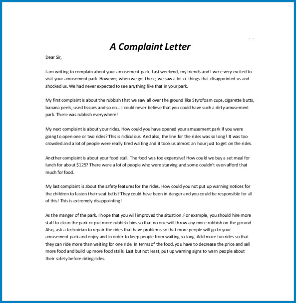 Formal Letter Of Complaint Template Example