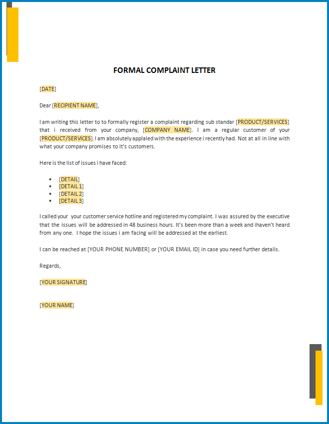 Free Printable Formal Letter Of Complaint Template