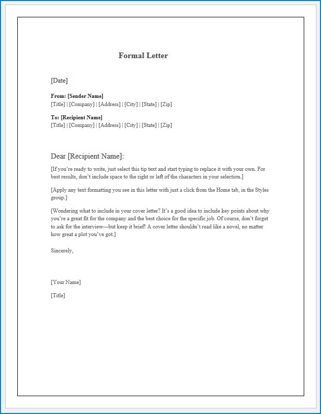 Free Editable Formal Letter Template