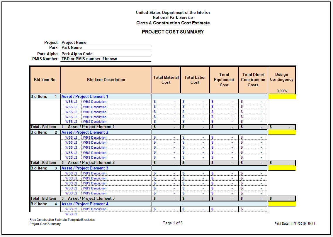 Free Construction Estimate Template Excel Templateral