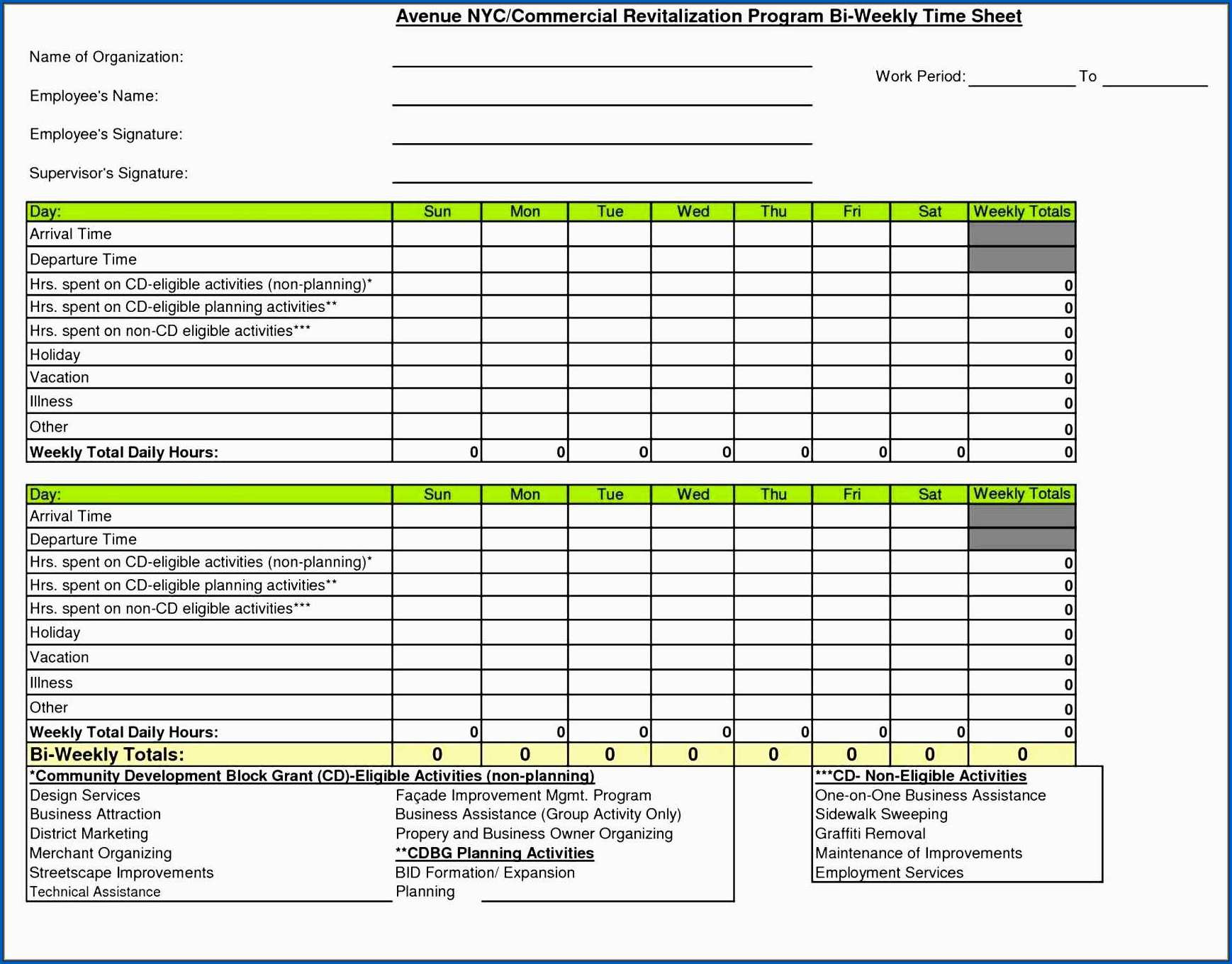 Free Excel Timesheet Template Multiple Employees Example