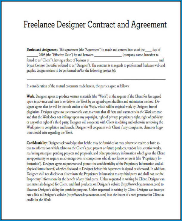 Freelance Graphic Design Contract Template Sample