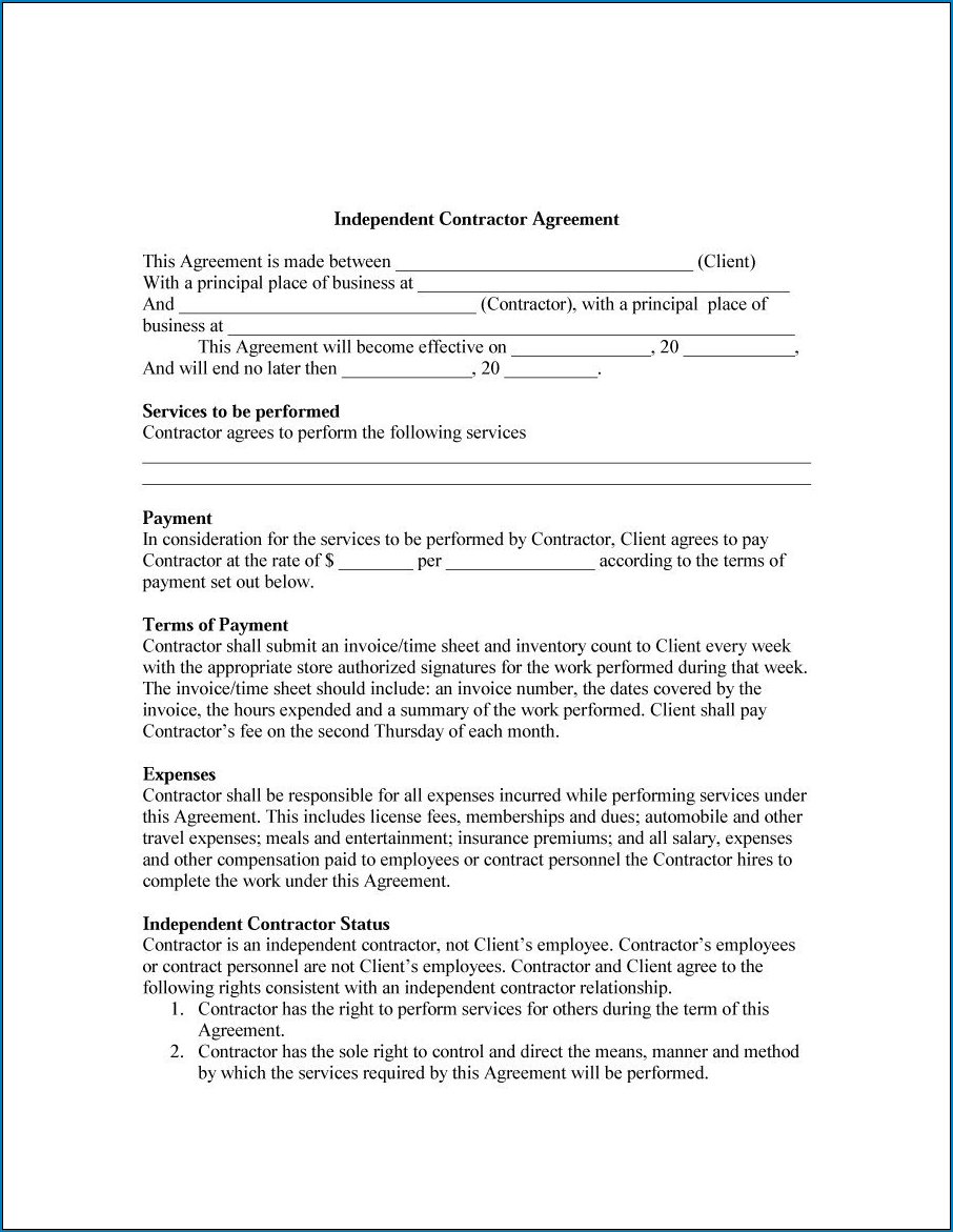 General Contractor Agreement Template Example