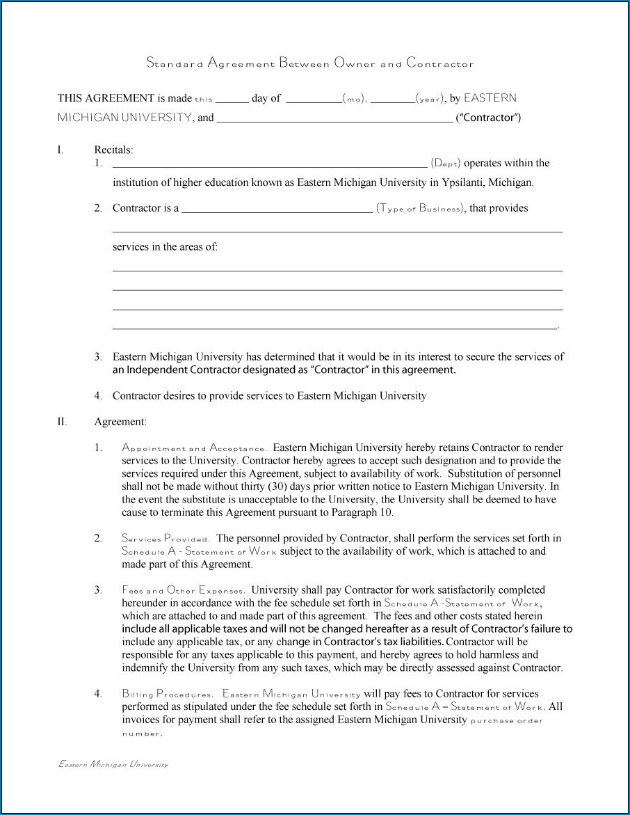General Contractor Agreement Template Sample