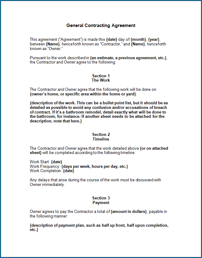 Free Printable General Contractor Agreement Template