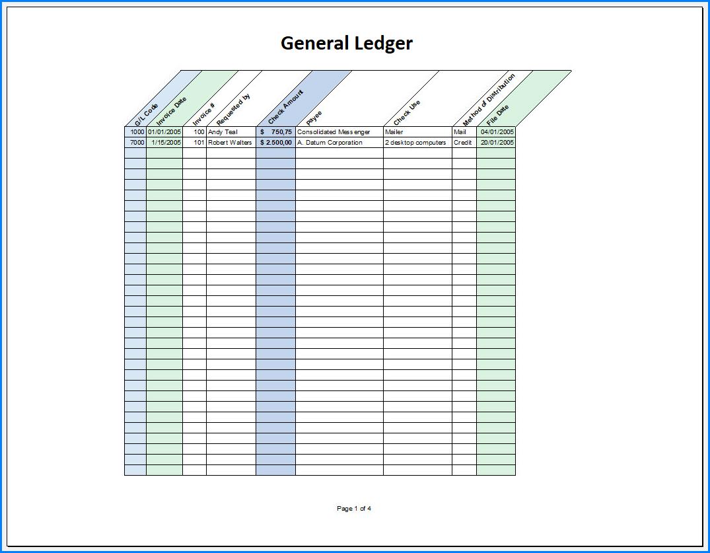 Free Printable General Ledger Template