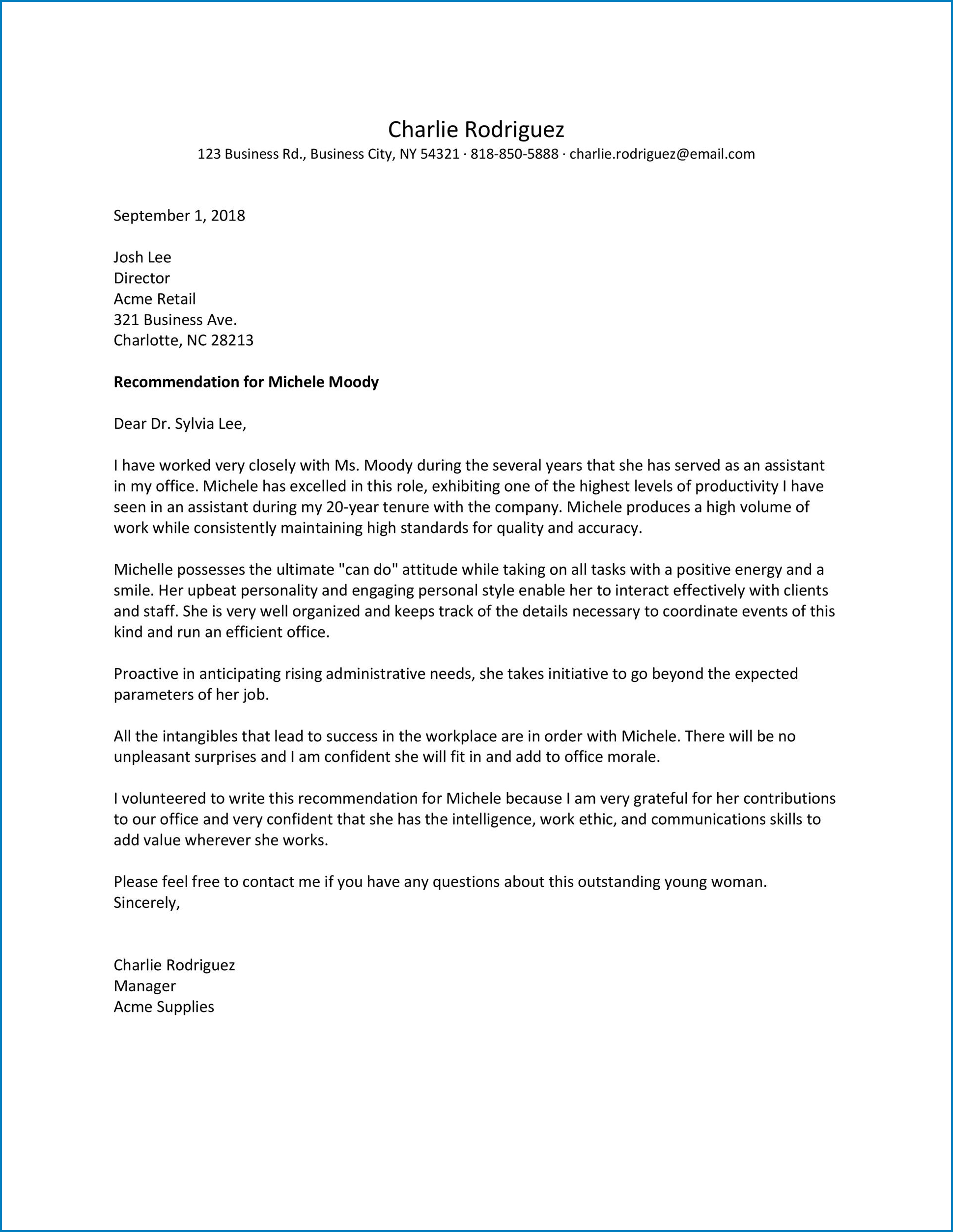 General Letter Of Recommendation Template Example