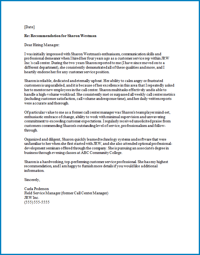 General Letter Of Recommendation Template