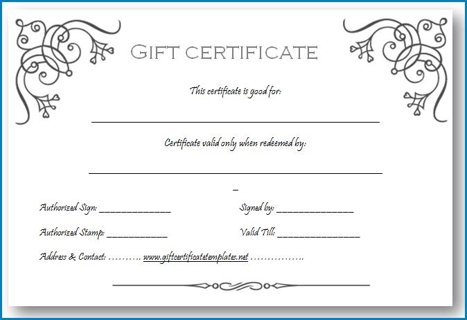 Gift Certificate Template Sample