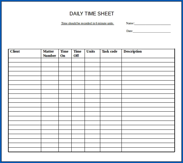 Google Sheets Daily Timesheet Template Example