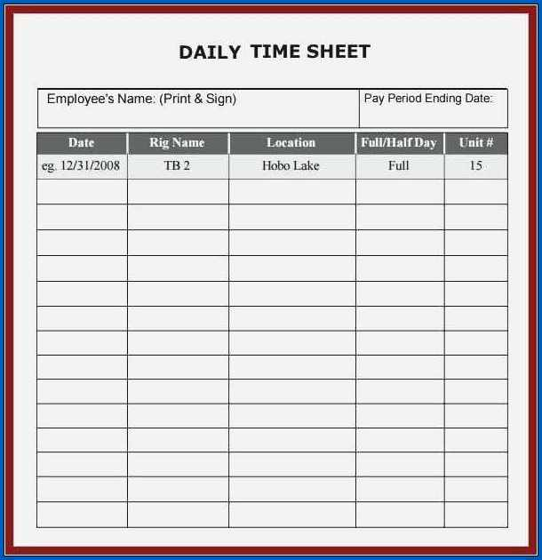 Google Sheets Daily Timesheet Template Sample