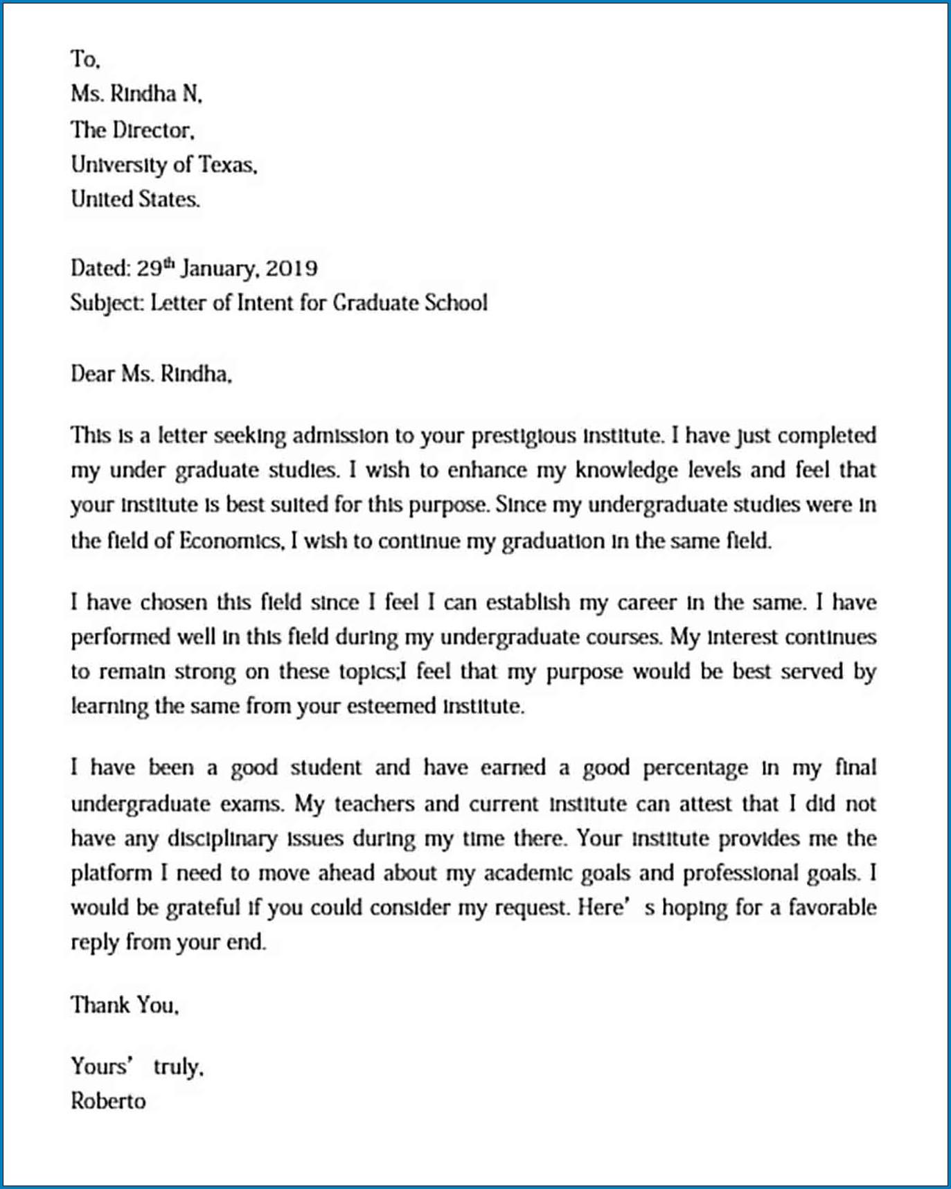 Graduate School Letter Of Intent Example