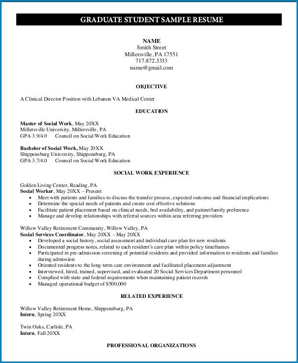 Graduate School Resume Template Sample