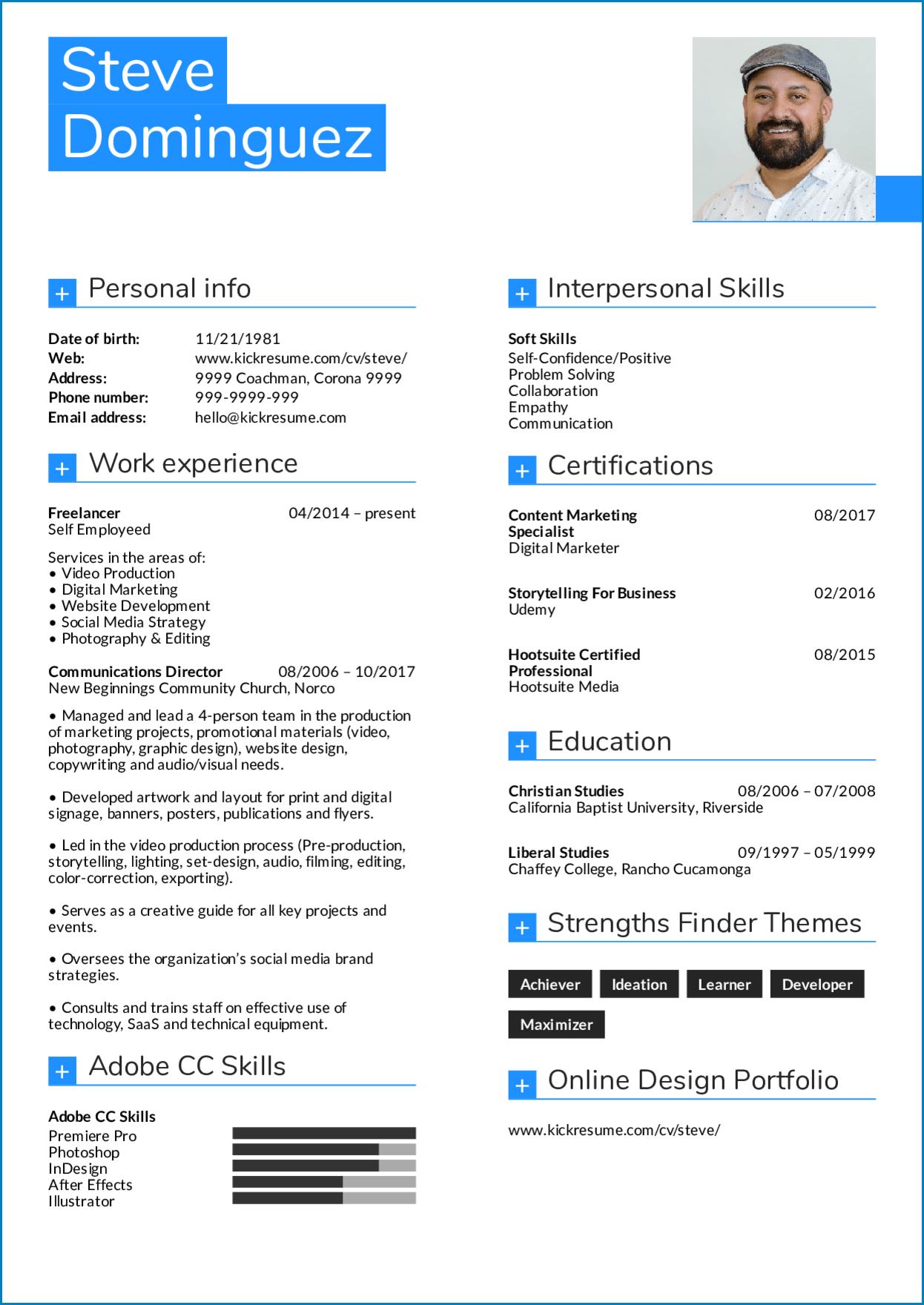 Graphic Design Resume Template Example
