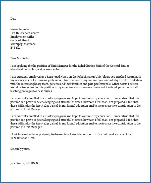Hospital Job Cover Letter Template Sample