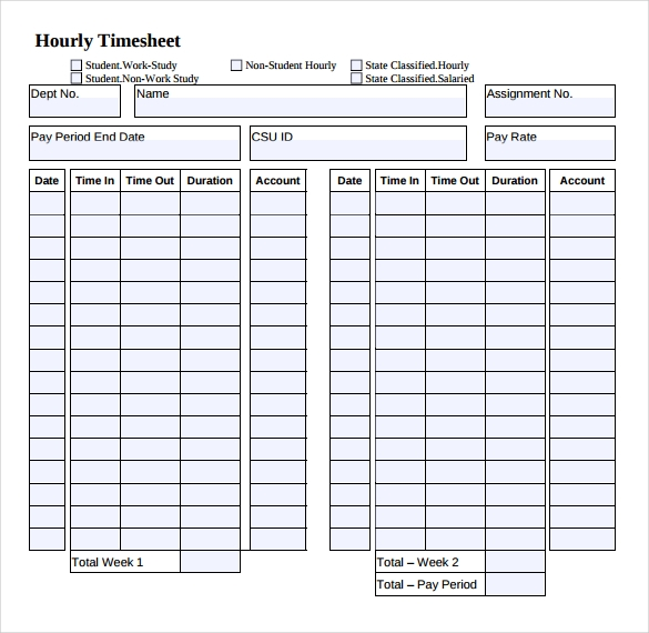 Hour Timesheet Template Example